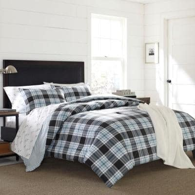 Lewis 2-Piece Blue Plaid Cotton Twin Duvet Cover Set
