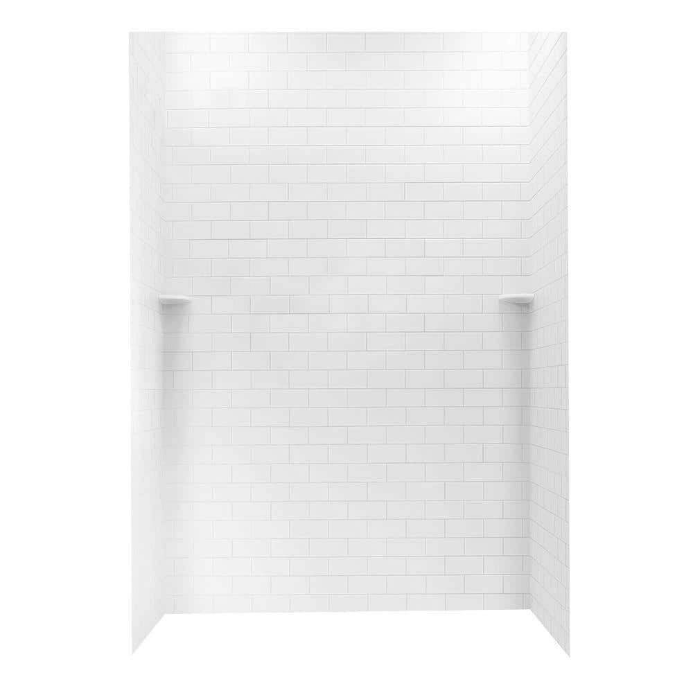 swan 36 in x 62 in x 96 in 3 piece solid surface subway tile easy up adhesive alcove shower surround in white stmk963662 010 the home depot
