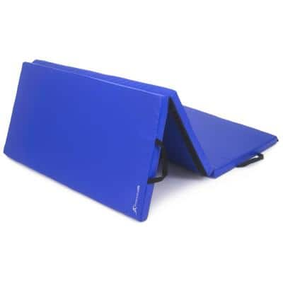 Tri-Fold Folding Thick Exercise Mat Blue 6 ft. x 4 ft. x 2 in. Vinyl and Foam Gymnastics Mat with Carrying Handles