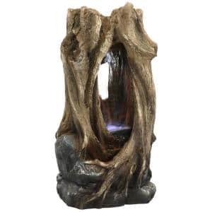 32 in. Mystical Waterfall Tree Trunk Outdoor Water Fountain with LED Lights
