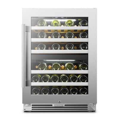 44 Bottle Seamless Stainless Steel Dual Zone Wine Refrigerator