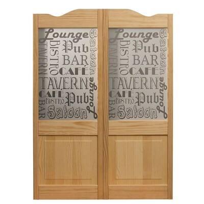 24 in. x 42 in. Pub Decorative Glass Over Wood Raised Panel Saloon Door