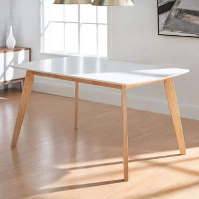 """60"""" Mid Century Modern Wood Dining Table - White/solid wood"""