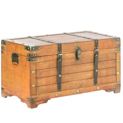 Brown Rustic Large Wooden Storage Trunk with Lockable Latch