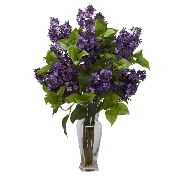 Nearly Natural - 24 in. Lilac Silk Flower Arrangement in Purple