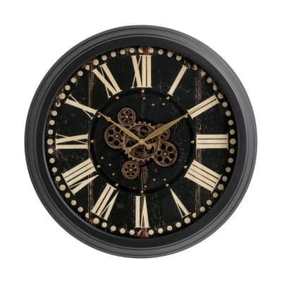 27.50 in. D Oversized Vintage Round Black Gear Clock with Tempered Glass