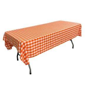60 in. x 90 in. White and Orange Polyester Gingham Checkered Rectangular Tablecloth