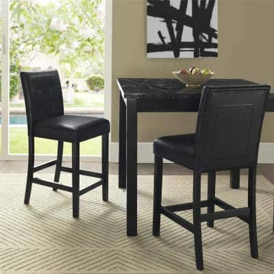 Laurel 5-Piece Transitional Black Counter Height Dining Set with Faux Marble Table Top