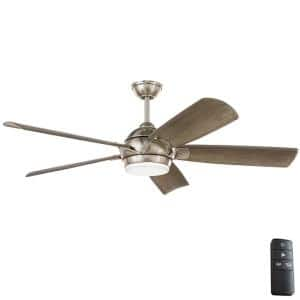 Camrose 60 in. White Color Changing Integrated LED Brushed Nickel Ceiling Fan with Light Kit and Remote Control