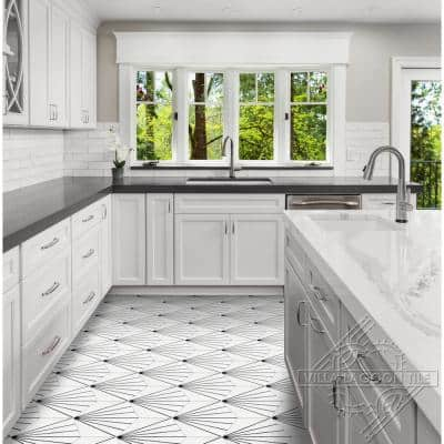 Spark C B&W Morning 8 in. x 9 in. Cement Handmade Floor and Wall Tile (Box of 16/ 5.93 sq. ft.)