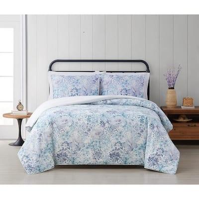 Charlotte 2-Piece Blue Floral Cotton Twin/Twin XL Comforter Set