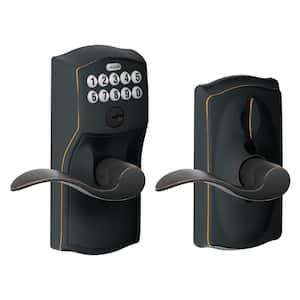 Camelot Aged Bronze Electronic Door Lock with Accent Door Lever Featuring Flex Lock
