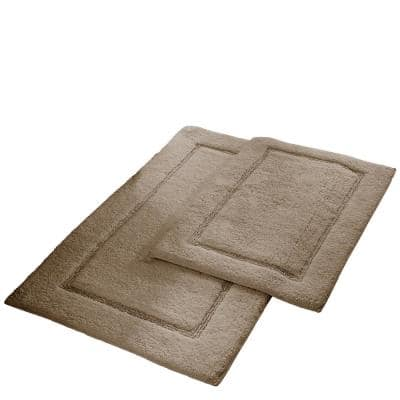 21 in. x 34 in. Solid Loop Cotton Taupe Bath Mat Set with Non-Slip Backing (2-Pack)