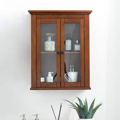 20 in. W x 8.5 in. D x 24.75 in. H Wall Cabinet with Double Doors in Brown
