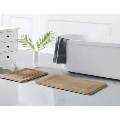 HeiQ Antimicrobial Memory Foam (20x32) Bath Rug in Khaki