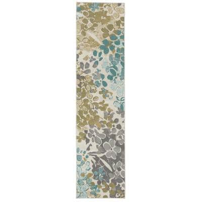 Radiance Aqua 1 ft. 8 in. x 6 ft. Machine Washable Floral Runner Rug