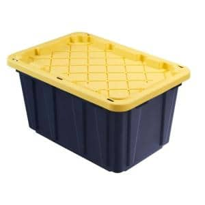 27 Gal. Tough Storage Tote in Black with Yellow Lid