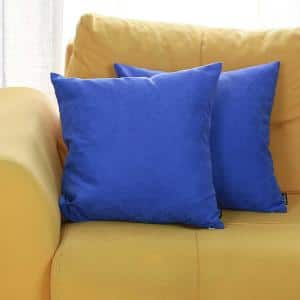 Josephine Blue Solid Color 18 in. x 18 in. Throw Pillow Cover (Set of 2)