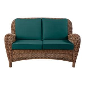 Beacon Park Brown Wicker Outdoor Patio Loveseat with CushionGuard Malachite Green Cushions