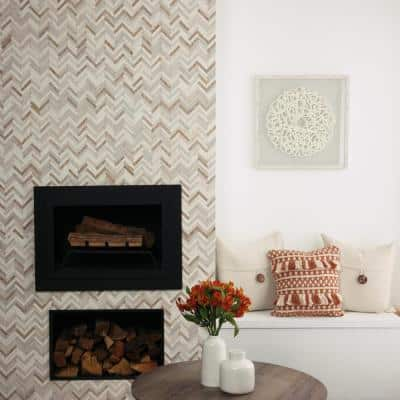 Premier Accents Beige Blend Chevron 10 in. x 12 in. x 8 mm Stone Mosaic Wall Tile (0.71 sq. ft./Each)