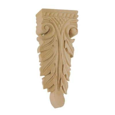 7-1/2 in. x 3-1/8 in. x 1 in. Unfinished Medium Hand Carved Solid Alder Wood Onlay Acanthus Wood Applique