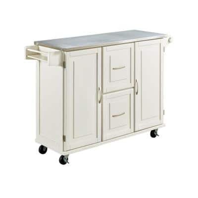 Dolly Madison White Kitchen Cart with Stainless Top