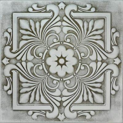 Victorian 1.6 ft. x 1.6 ft. Glue Up Foam Ceiling Tile in Moss Gray