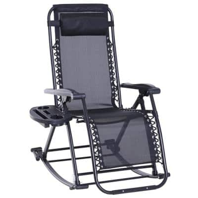Folding Zero Gravity Rocking Lounge Metal Sling Chair with Cup Holder Tray, Durable Fabric and Folding Design, Black