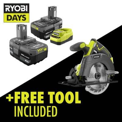 ONE+ 18V Lithium-Ion 4.0 Ah Compact Battery (2-Pack) and Charger Kit with Free Cordless 5-1/2 in. Circular Saw