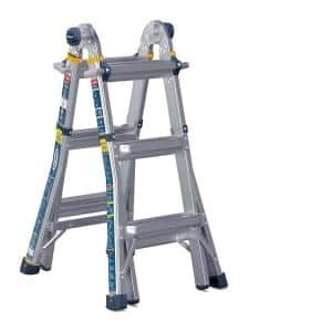 14 ft. Reach Aluminum 5-in-1 Multi-Position Pro Ladder with Powerlite Rails 375 lbs. Load Capacity Type IAA Duty Rating