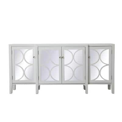 Timeless Home 4-Door in White Storage Cabinet 34 in. H x 72 in. W x 16 in. D