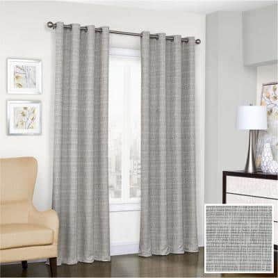 Trevi Grey Blackout Window Curtain, 52 in. W x 108 in. L