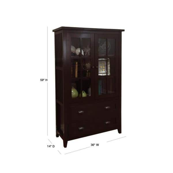 Donnieann Brookdale Dark Walnut Accent Cabinet With Glass Window Panel Doors And 2 Drawers 819181 The Home Depot