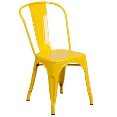 Metal Outdoor Dining Chair in Yellow