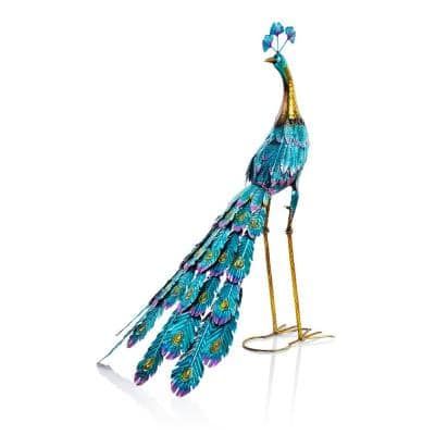 Graceful Metal Peacock Garden Statue Decor
