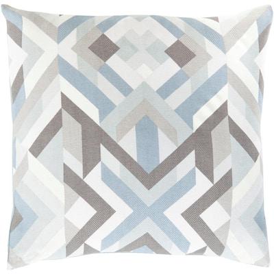 Kazivera Navy Geometric Polyester 22 in. x 22 in. Throw Pillow