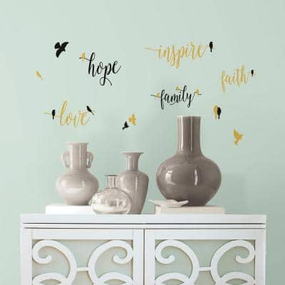 5 in. W x 11.5 in. H Inspirational Words with Birds 11-Piece Peel and Stick Wall Decal