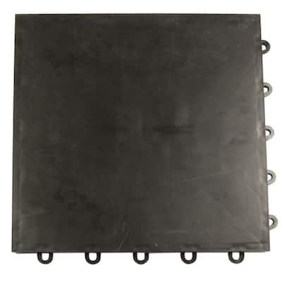 Court Floor Flat Top Black 12-1/8 in. x 12-1/8 in. x 5/8 in. Interlocking Modular Floor Tile (Case of 24)