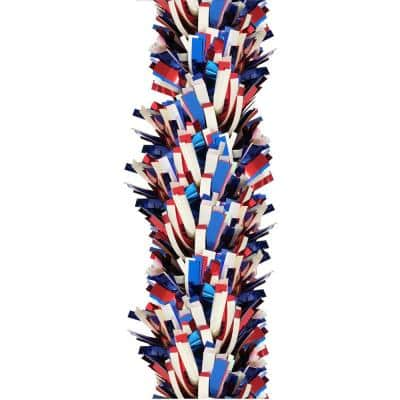 9 ft. Patriotic Extra Wide Boa Tinsel Garland, Red/White/Blue