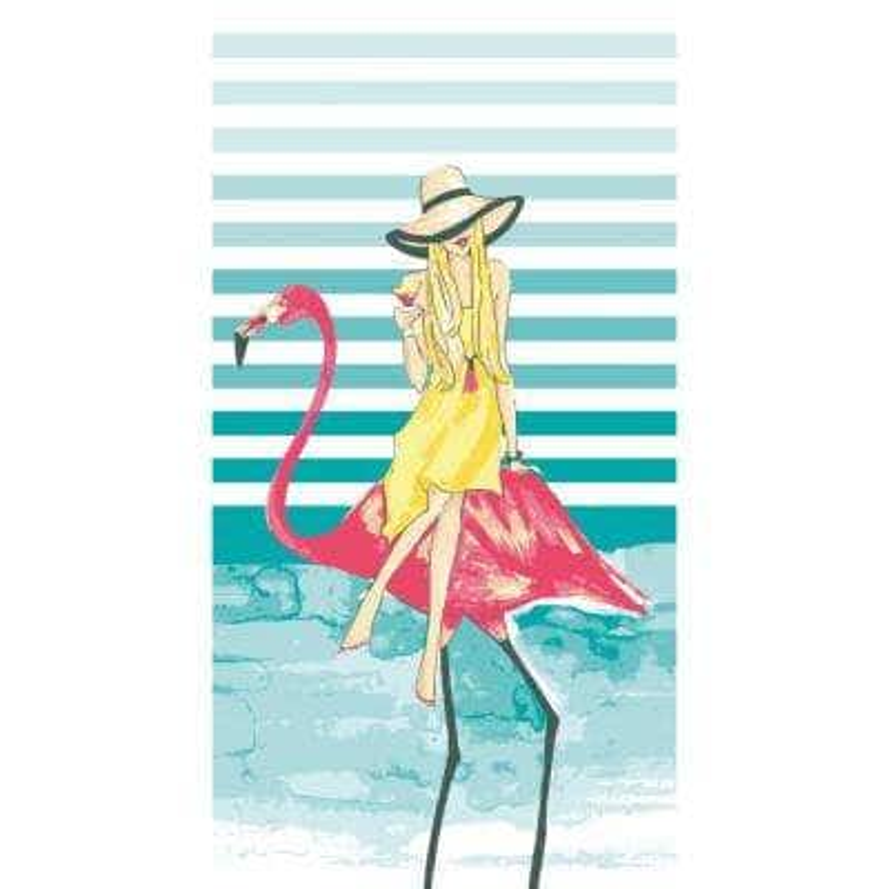 Rong Rong 100% Cotton Beach Towel Fabulous Flamingos