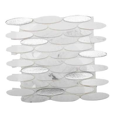 Orbit Ice Water Ovals 12 in. x 12 in. x 8 mm Mosaic Floor and Wall Tile