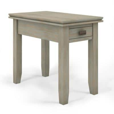 Artisan Solid Wood 14 in. Wide Rectangle Transitional Narrow Side Table in Distressed Grey