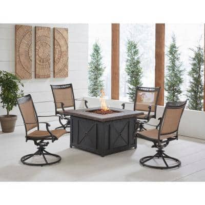 Fontana 5-Piece Aluminum Patio Fire Pit Conversation Set with Swivel Rockers and Fire Pit Coffee Table