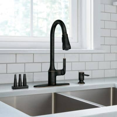 Milton Single-Handle Pull-Down Sprayer Kitchen Faucet with Reflex and Power Clean Attachments in Mediterranean Bronze