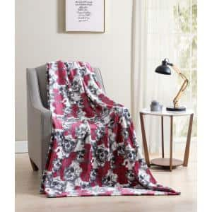 MHF Home Floral Skulls Pink and Gray Plush Throw Blanket