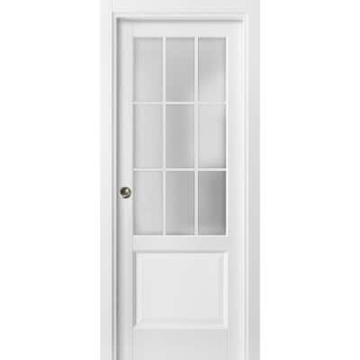 36 in. x 80 in. 9 Lites White Finished Solid Wood Sliding Door