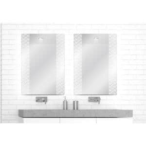 Easy Install Decorative Art Floating Frameless Vanity Mirror Geometric Modern Etched 38'' L x 26'' H