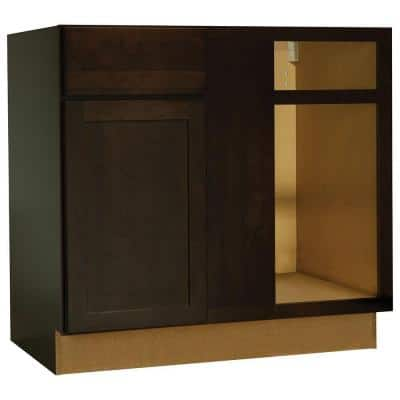 Shaker Assembled 36x34.5x24 in. Blind Base Corner Kitchen Cabinet in Java