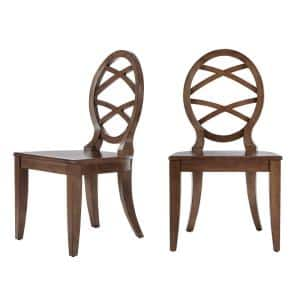 Haze Oak Finish Dining Chair with Oval Back (Set of 2) (20.24 in. W x 36.87 in. H)