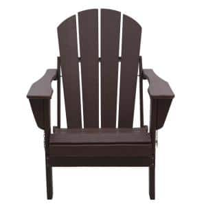 Addison Dark Brown Folding Poly Outdoor Adirondack Chair